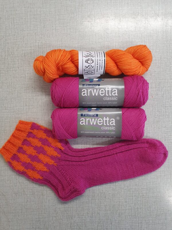 sockan malin cerise/orange